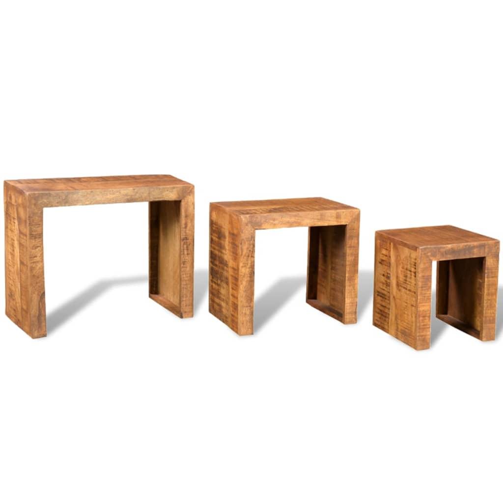 Antique Wood Nesting Tables Set Of 3 ~ Antique style mango wood set of nesting tables vidaxl