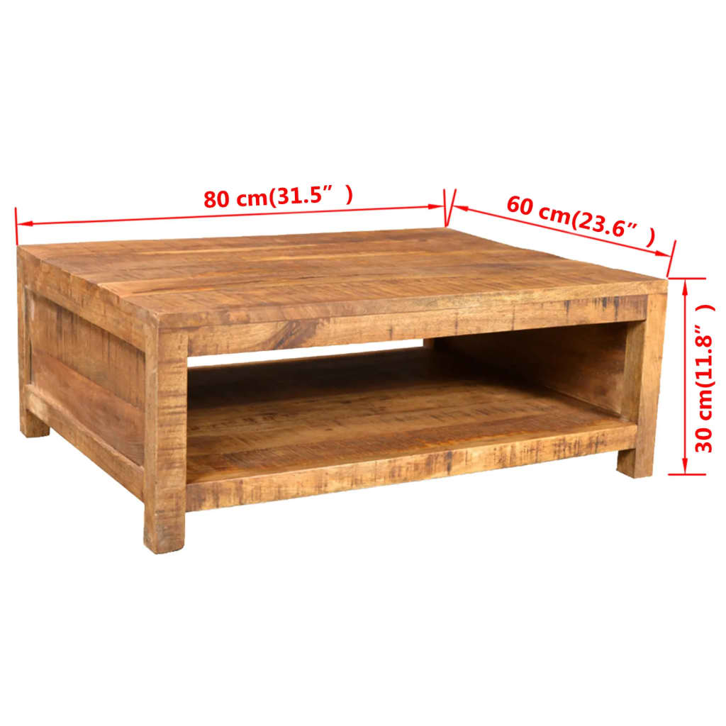 Antique style mango wood coffee table for Timber coffee table