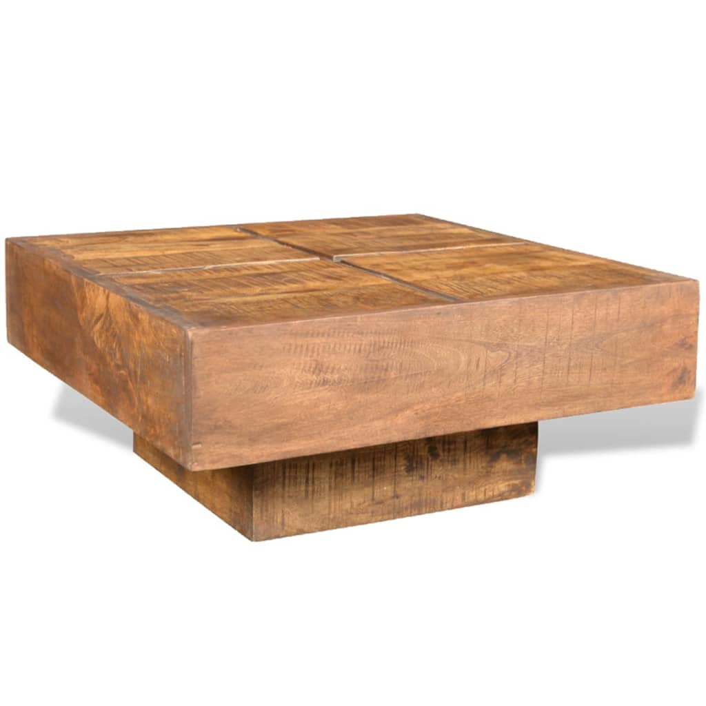... Brown Antique Style Square Mango Wood Coffee Table[3/7] ...