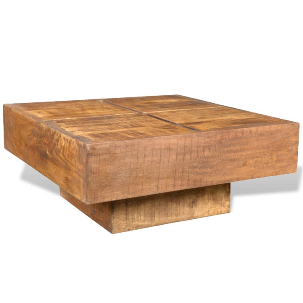 Brown Antique Style Square Mango Wood Coffee Table