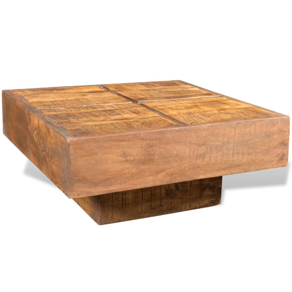 La boutique en ligne table basse carr e marron style - Table basse en manguier ...