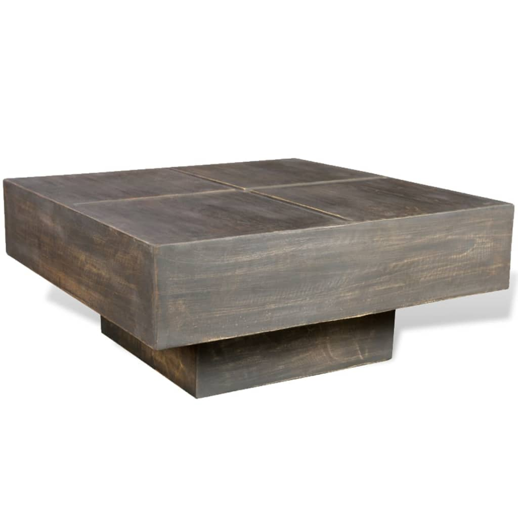 Black Antique Style Square Mango Wood Coffee Table