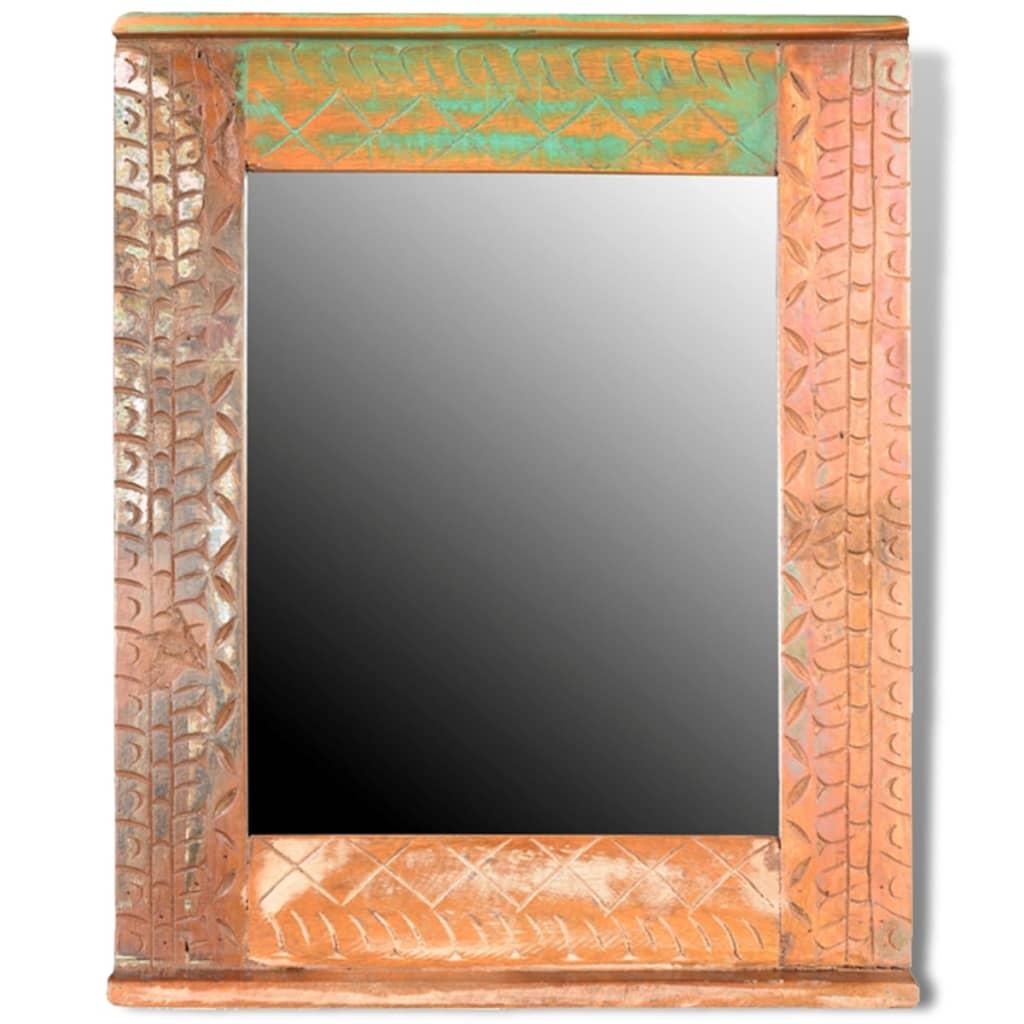 Badkamerset met kastje en spiegel van gerecycled hout for Miroir en solde