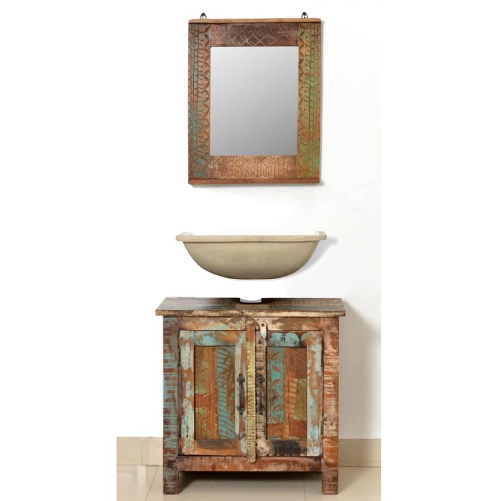 La boutique en ligne ensemble meuble sous vasque et miroir for Meuble vasque en bois massif