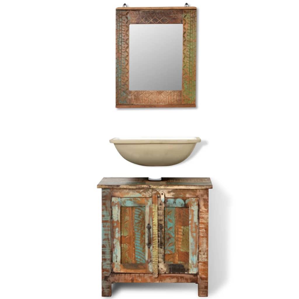 Reclaimed solid wood bathroom vanity for Armoire de toilette miroir