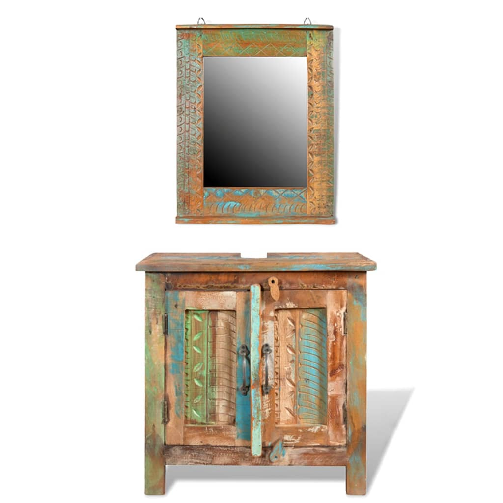 .co.uk  Reclaimed Solid Wood Bathroom Vanity Cabinet Set with Mirror