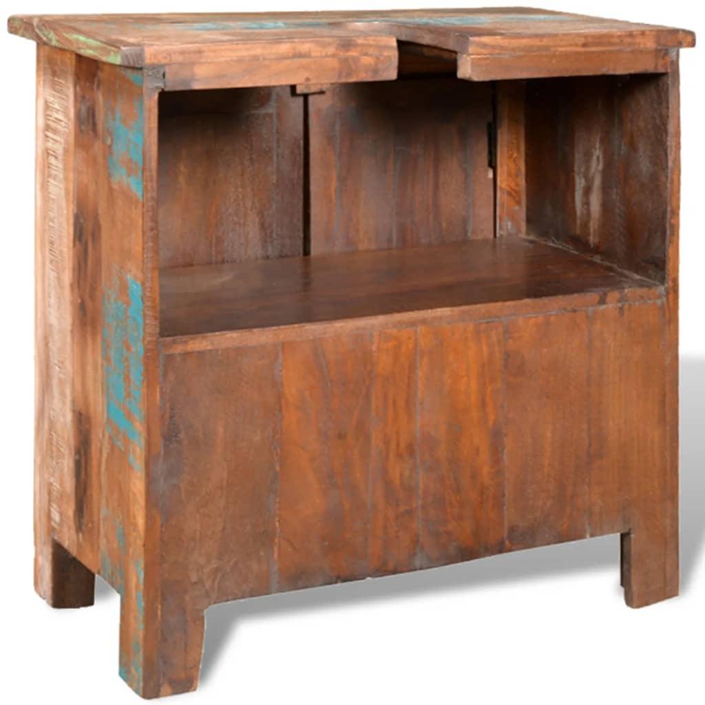Mueble de ba o de madera reciclada con espejo y dos armarios laterales - Mueble de bano madera ...