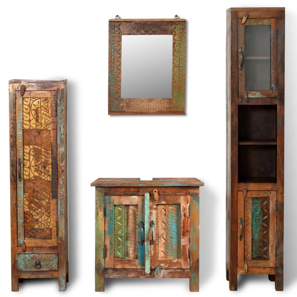Acheter set de meubles de salle de bains en bois massif recycl avec miroir pas cher - Miroir salle de bain bois ...
