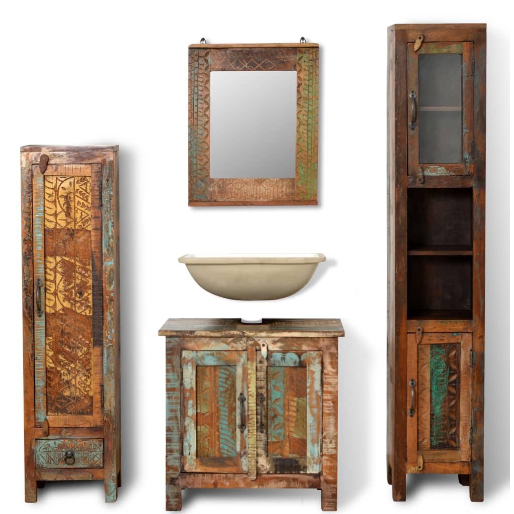 Mueble de ba o de madera reciclada con espejo y dos - Armarios de pared para banos ...