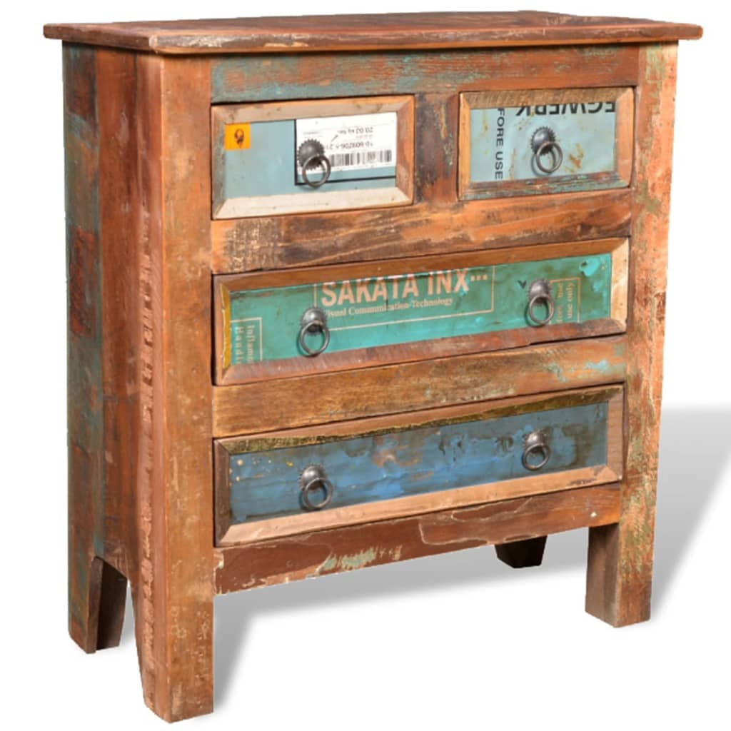 Wonderful image of vidaXL.co.uk Reclaimed Wood Cabinet with 4 Drawers with #A36128 color and 1024x1024 pixels