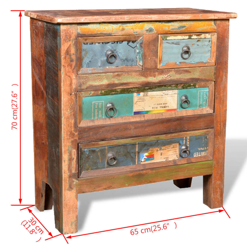 reclaimed wood cabinet with 4 drawers vidaxl