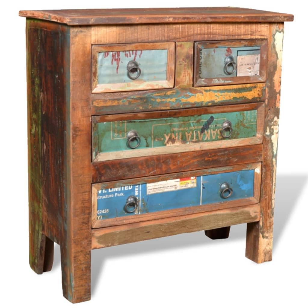 la boutique en ligne armoire 4 tiroirs en bois recycl. Black Bedroom Furniture Sets. Home Design Ideas