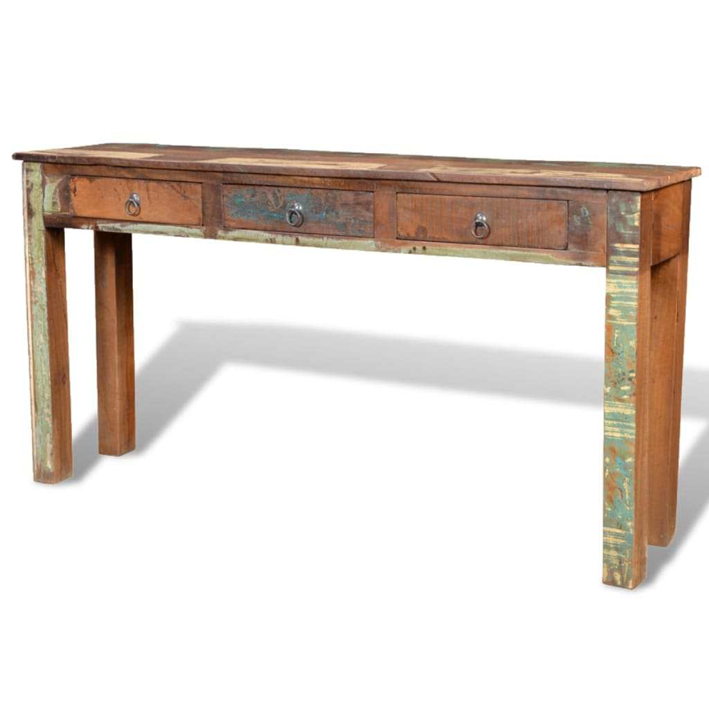 Wonderful image of Reclaimed Wood Side Table with 3 Drawers vidaXL.com with #412818 color and 1024x1024 pixels
