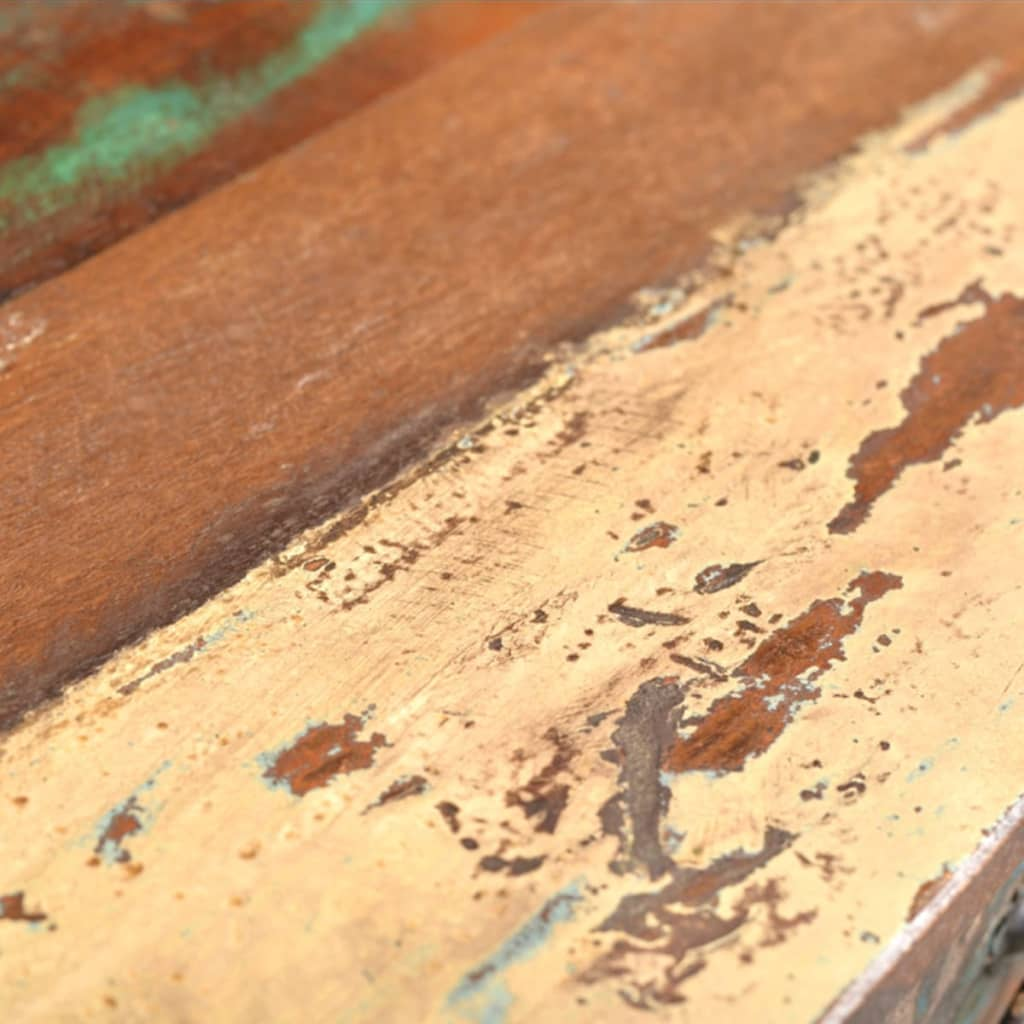 Wonderful image of Reclaimed Wood Side Table with 3 Drawers vidaXL.com with #3C2315 color and 1024x1024 pixels