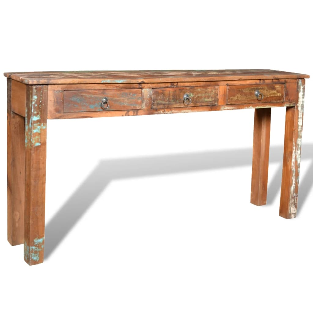 Reclaimed wood side table with 3 drawers for End tables with drawers