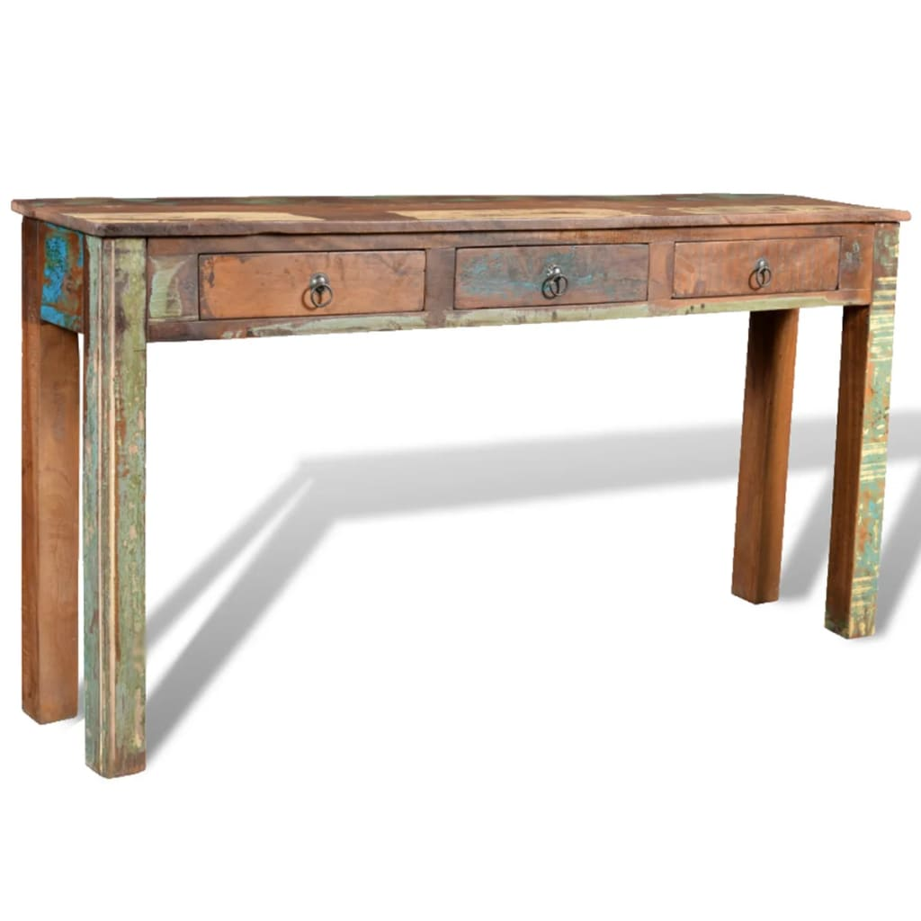 reclaimed wood side table with 3 drawers. Black Bedroom Furniture Sets. Home Design Ideas