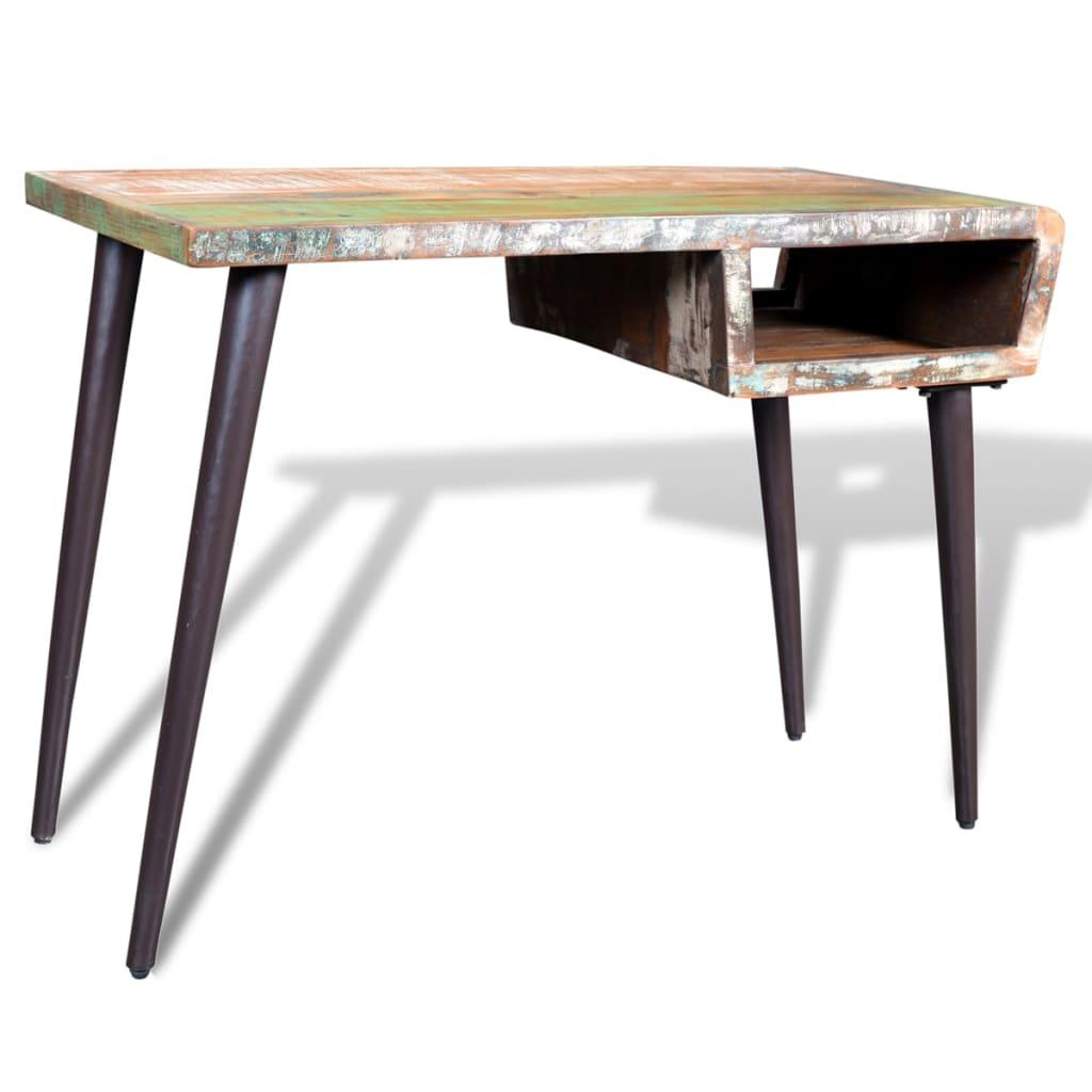 der schreibtisch massivholz teak antik mit eisenf en online shop. Black Bedroom Furniture Sets. Home Design Ideas