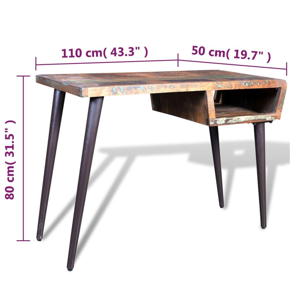 Scrivania in legno di recupero con gambe in ferro for Gambe di legno