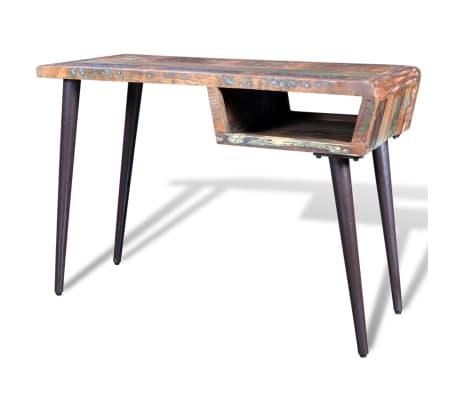 schreibtisch massivholz teak antik mit eisenf en im vidaxl trendshop. Black Bedroom Furniture Sets. Home Design Ideas