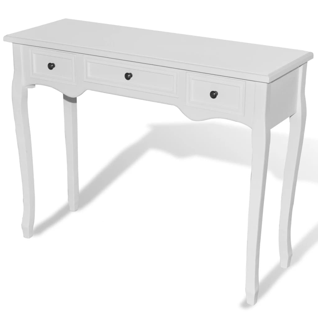 white dressing console table with three drawers. Black Bedroom Furniture Sets. Home Design Ideas