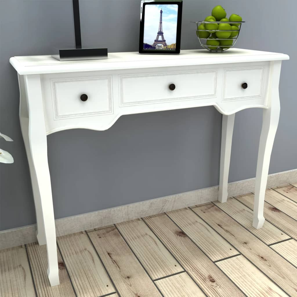 shabby chic dressing table white console tables 3 drawers vanity wood dresser ebay. Black Bedroom Furniture Sets. Home Design Ideas