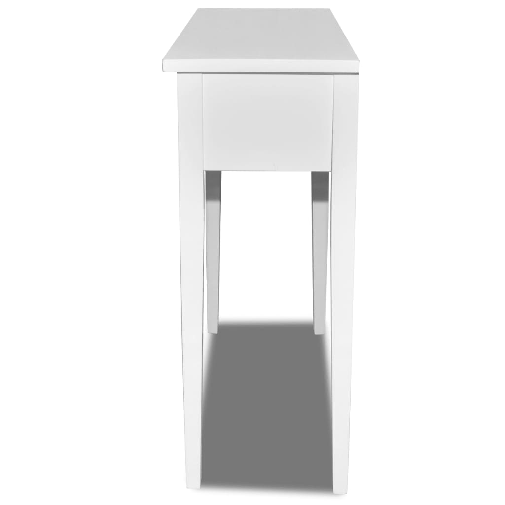white dressing console table with two drawers. Black Bedroom Furniture Sets. Home Design Ideas