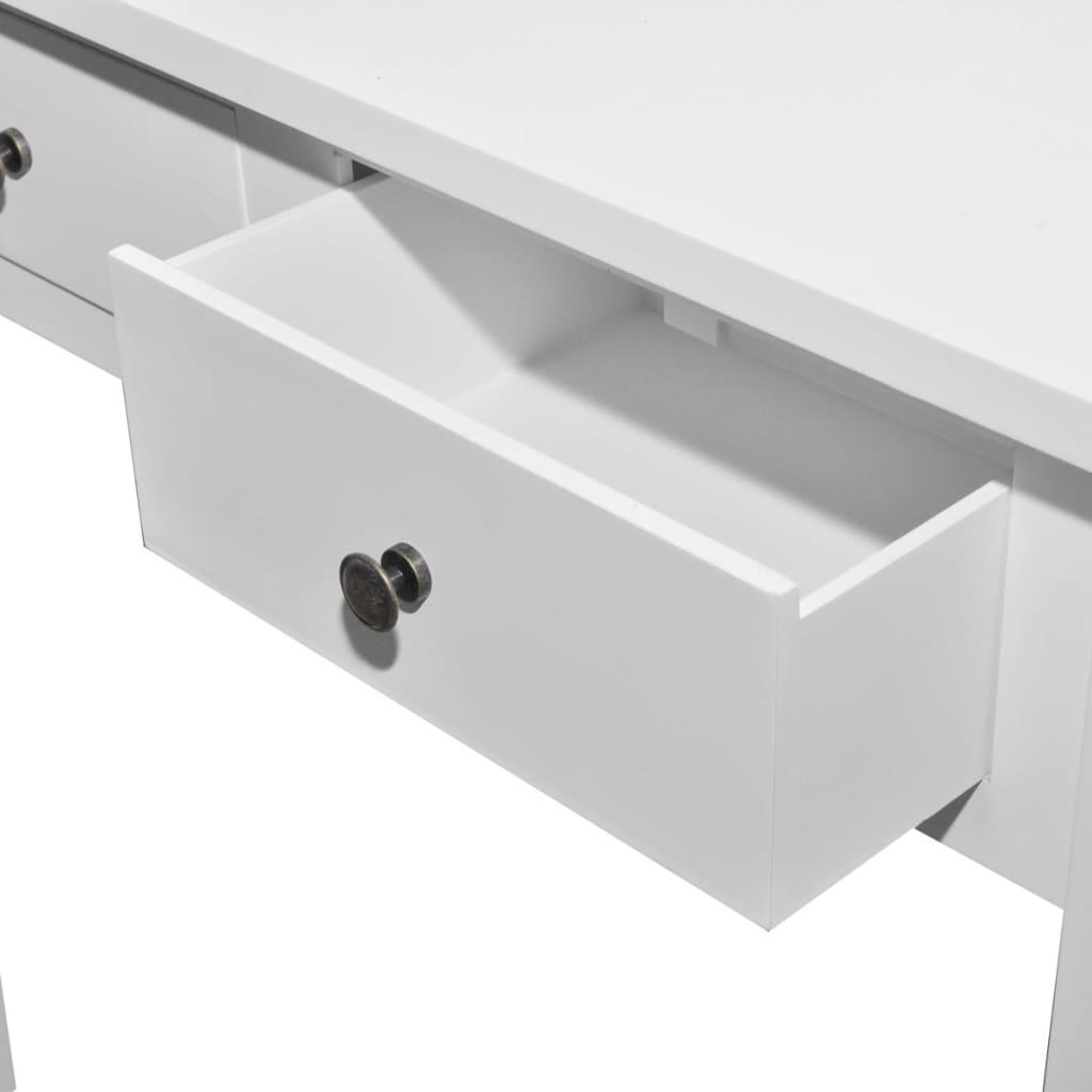La boutique en ligne coiffeuse en bois blanche avec deux tiroirs - Coiffeuse avec tiroir ...