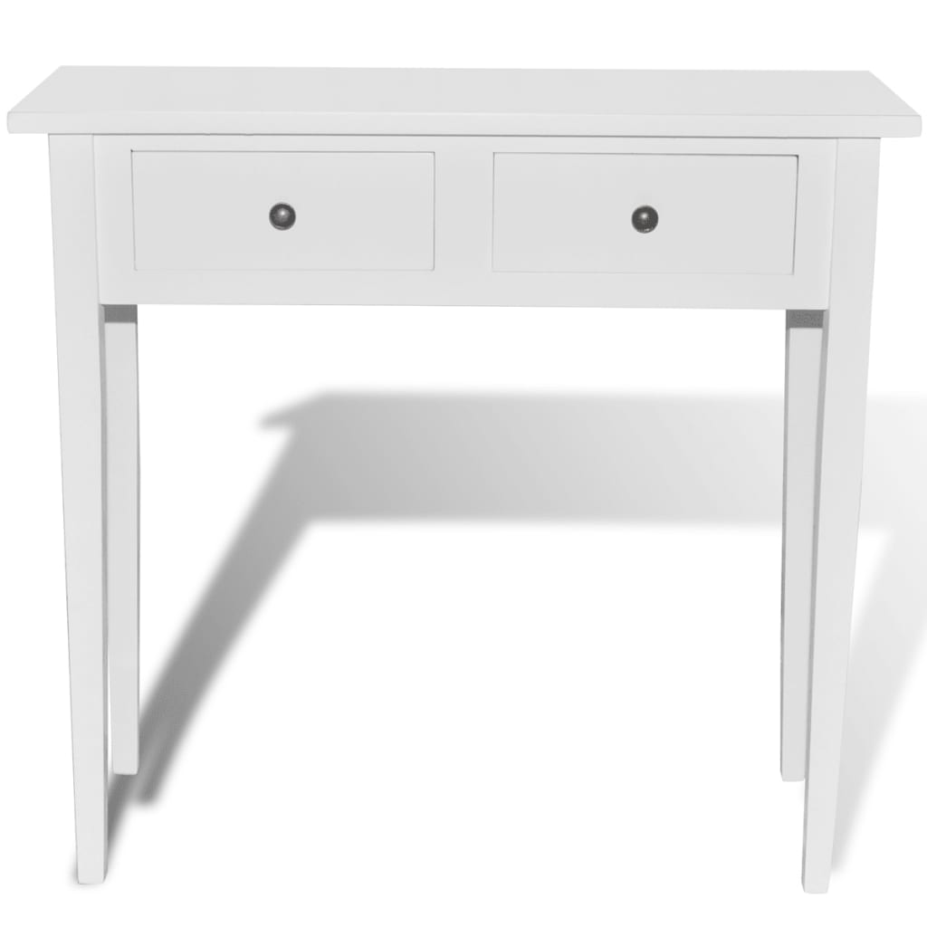 White dressing console table with two drawers for Console meuble