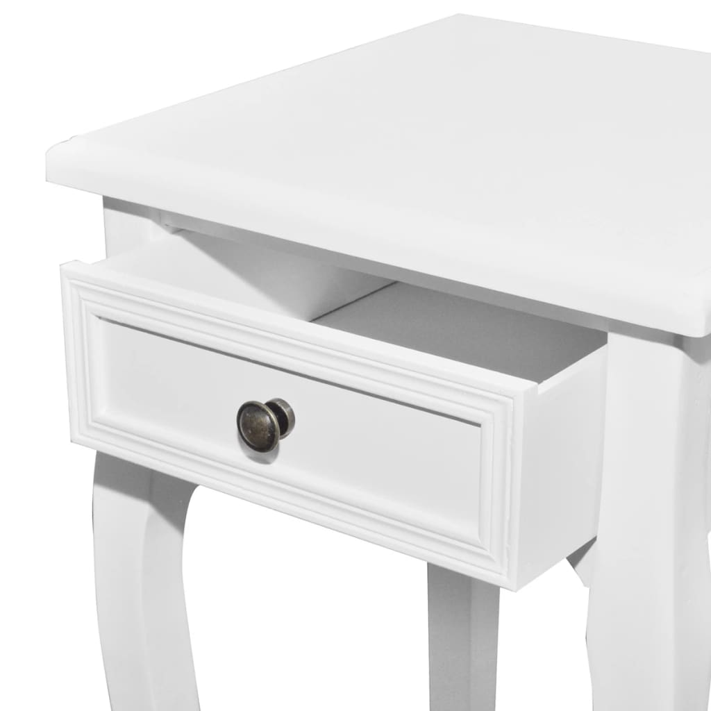 white telephone side table with drawer 2 sizes. Black Bedroom Furniture Sets. Home Design Ideas