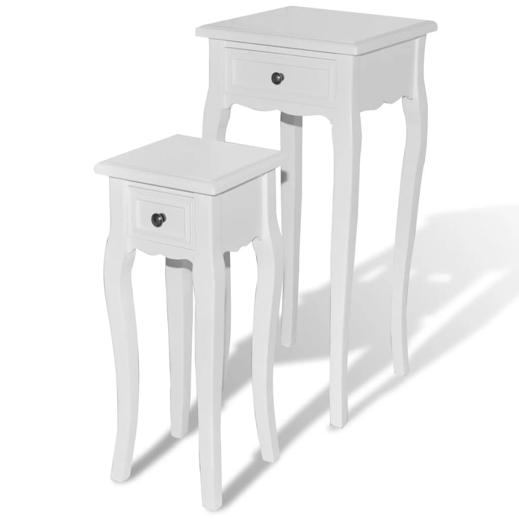 Mesa auxiliar blanca con cajon para tel fono 2 tama os for Mesas para telefono ikea