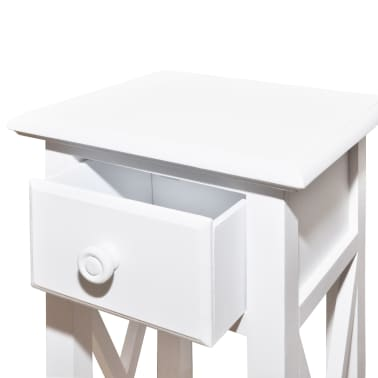 White Telephone Side Table with Drawer[4/6]