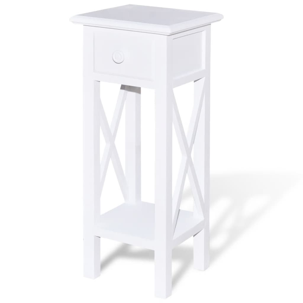 Great ... White Telephone Side Table With Drawer[2/6] ...
