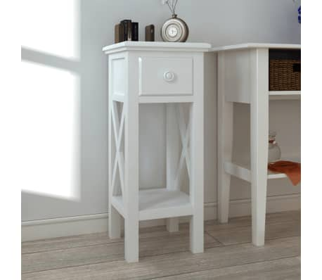 White Telephone Side Table with Drawer