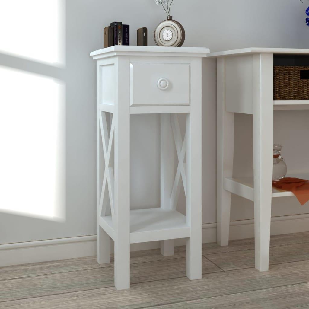 Vidaxl mesa auxiliar blanca con cajon para tel fono mueble for Mesas o muebles para telefonos