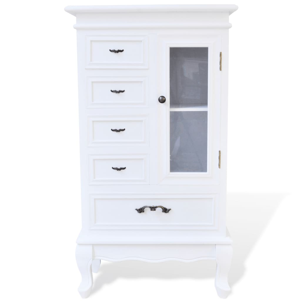vidaxl kommode konsole glas schrank wei antik shabby chic. Black Bedroom Furniture Sets. Home Design Ideas