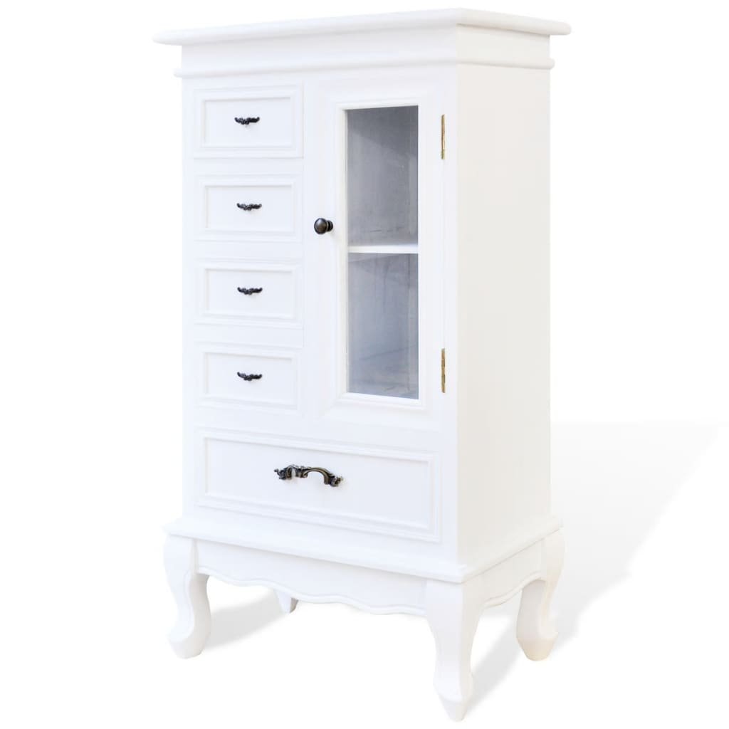 vidaxl kommode konsole glas schrank wei antik shabby chic vitrine holz ebay. Black Bedroom Furniture Sets. Home Design Ideas