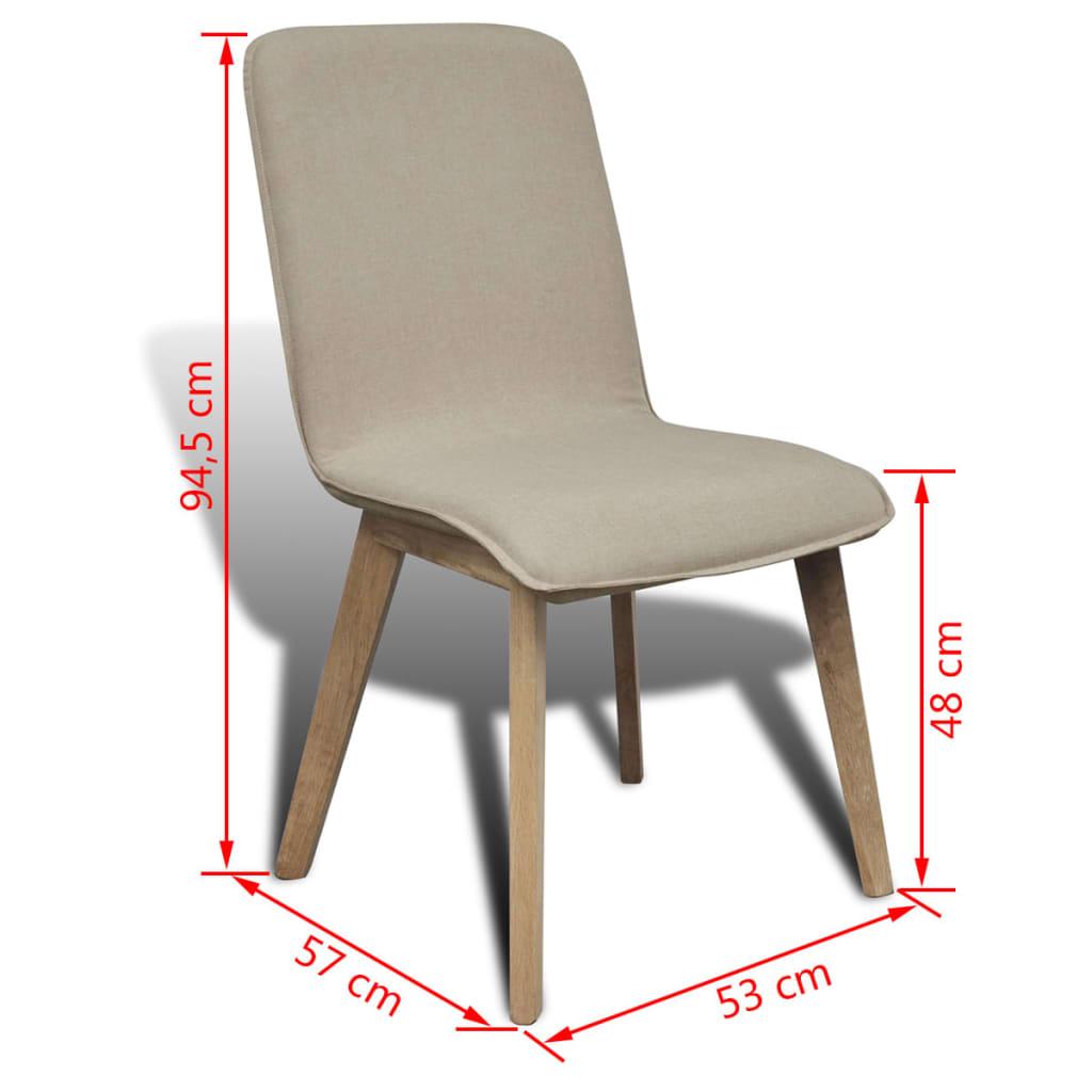silla de comedor de roble 4 unidades color beige