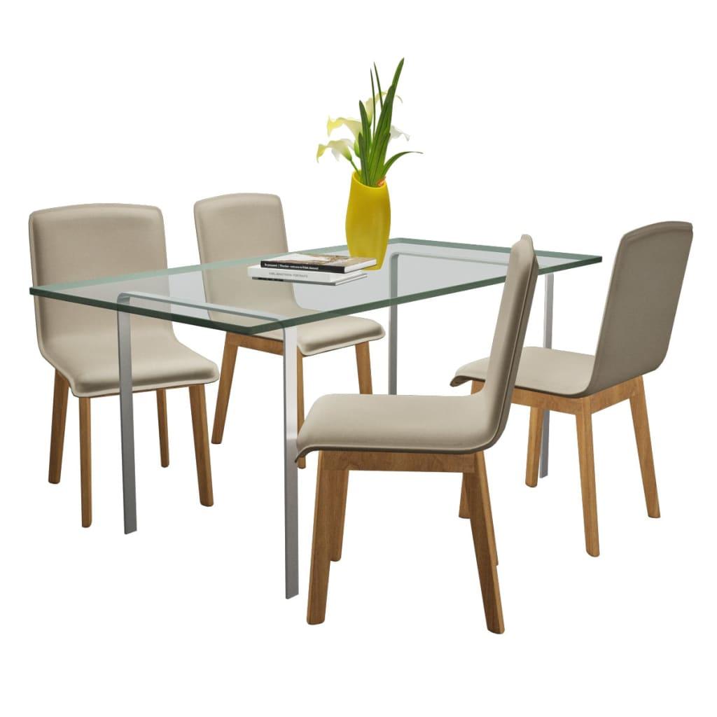 acheter set de 4 chaises gondole pour int rieur en ch ne en tissu gris clair pas cher. Black Bedroom Furniture Sets. Home Design Ideas
