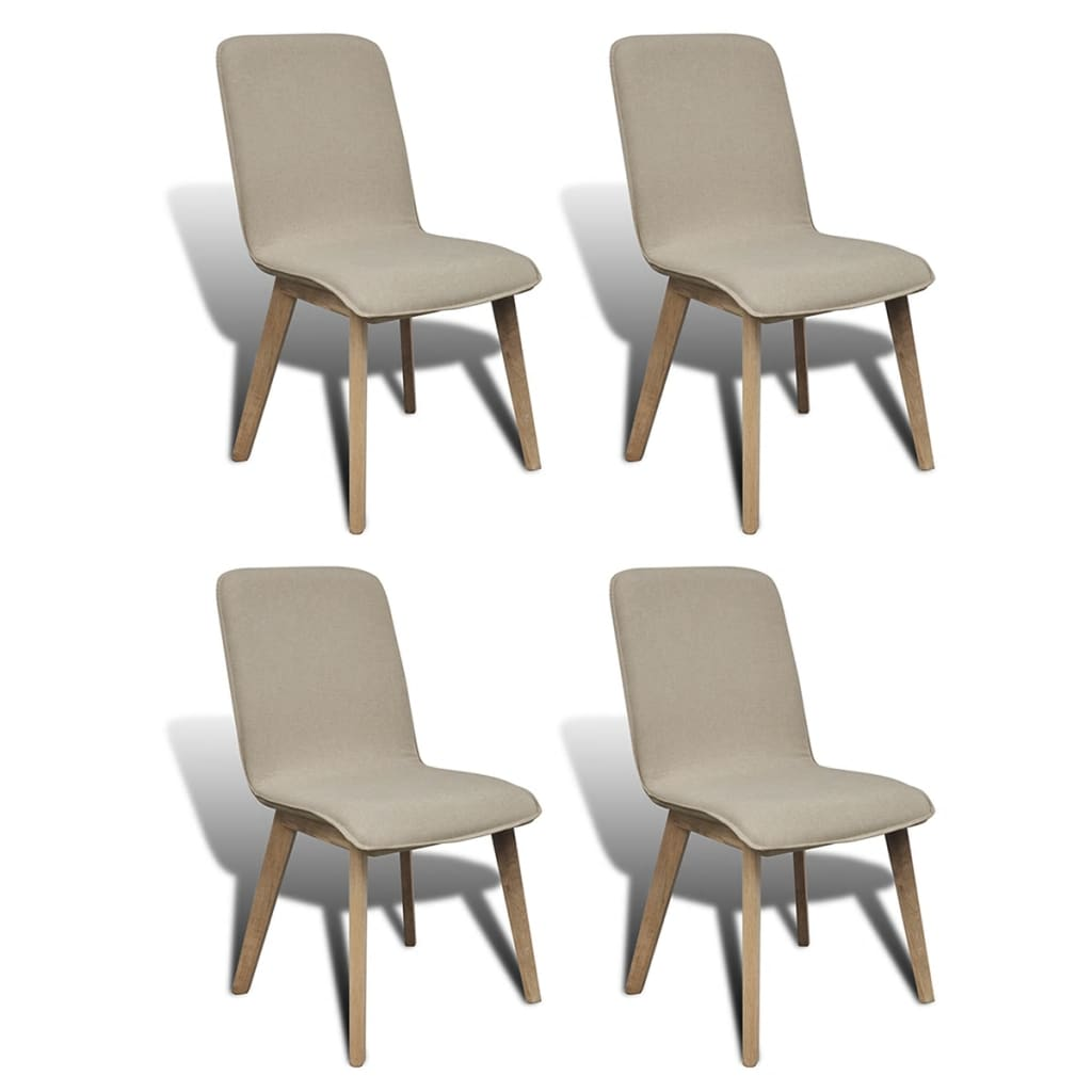 Silla de comedor de roble 4 unidades color beige for Sillas polipiel beige