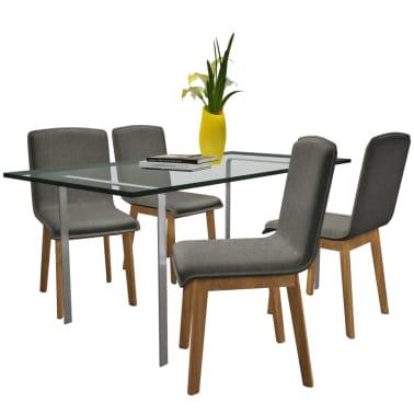Tammepuidust toolid kangast kattega 4 tk tumehall[2/7]