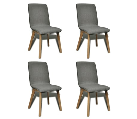 Tammepuidust toolid kangast kattega 4 tk tumehall