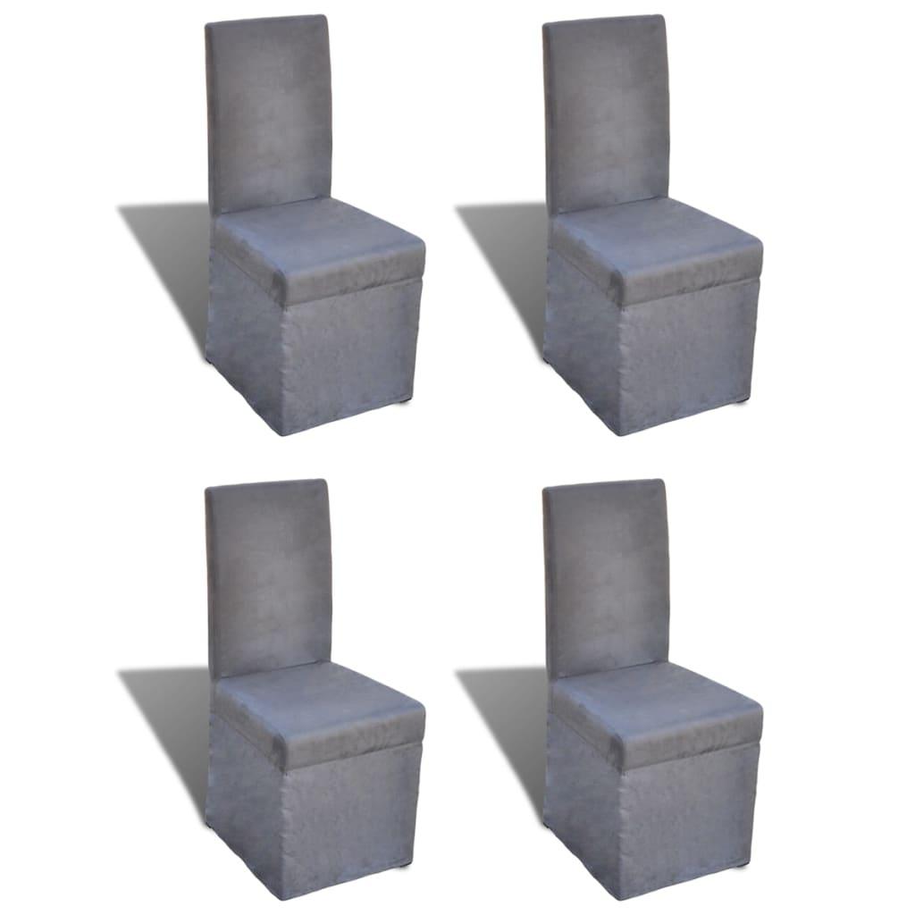 chaise de salle manger gris fonc 4 pcs. Black Bedroom Furniture Sets. Home Design Ideas