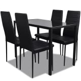 Black Dining Table Set with 4 Chairs Comteporary Design