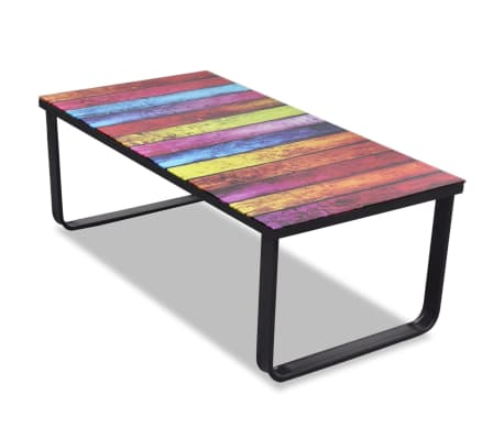Glass Coffee Table with Rainbow Printing