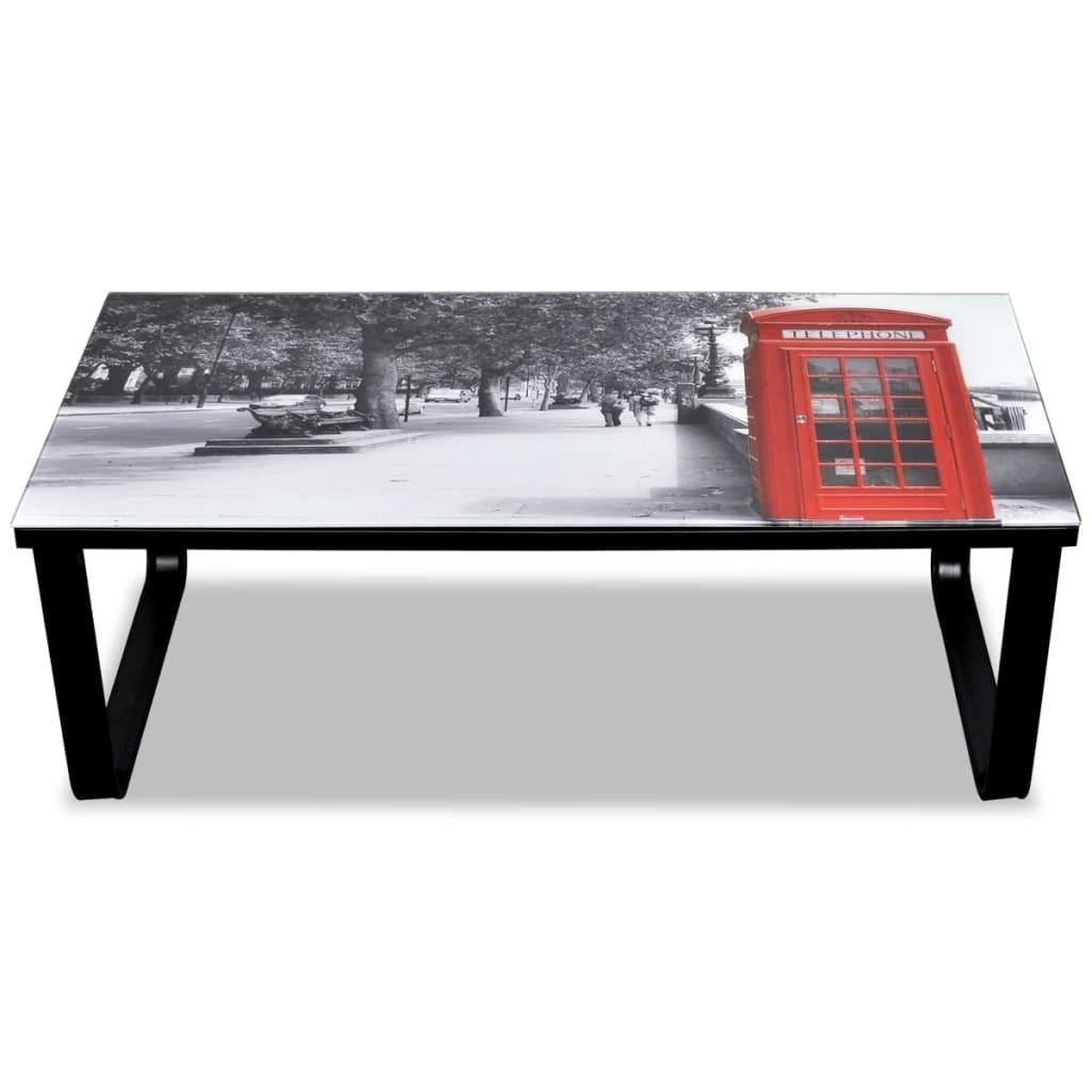 Der wohnzimmertisch mit rotem telefonzellen print for Wohnzimmertisch glasplatte