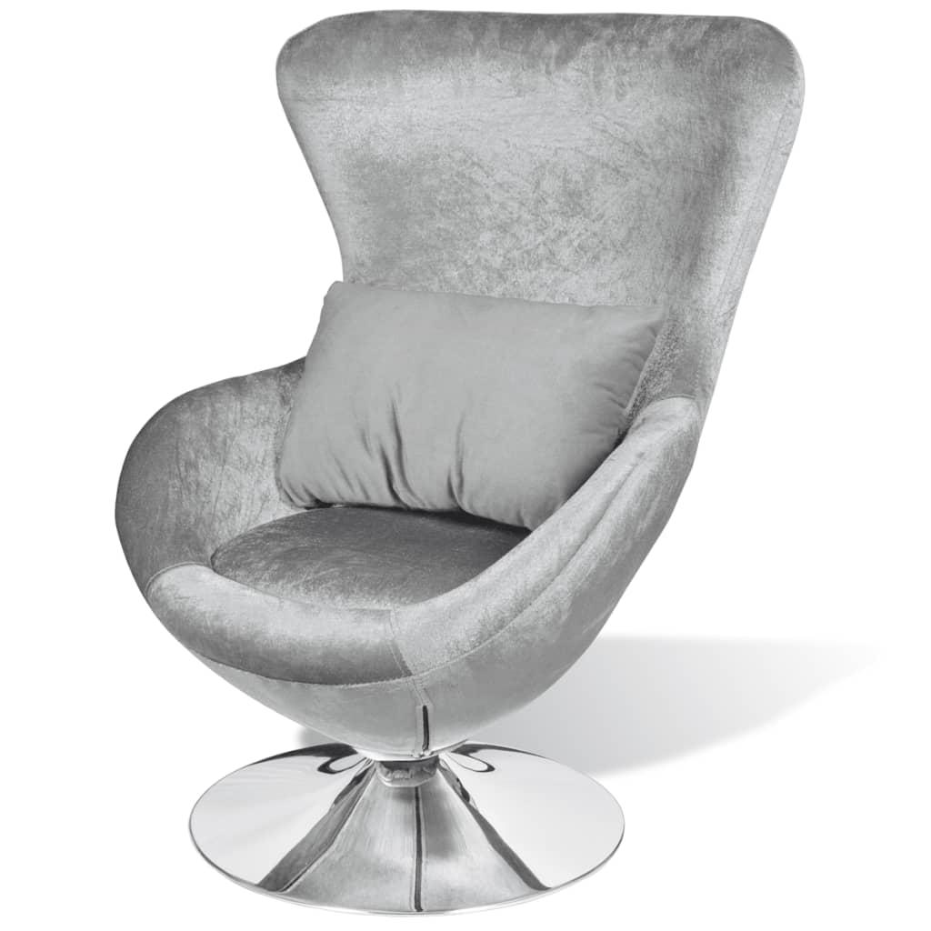 vidaXL Mały, srebrny fotel obrotowy z poduszką