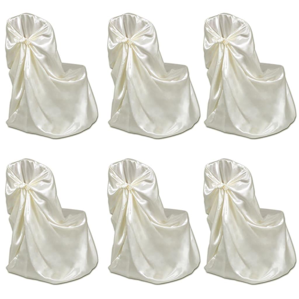 Cremefärgad stolsklädsel till bröllopsmiddag 6 st