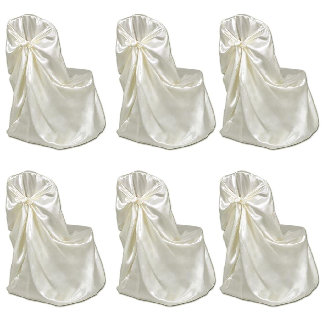 la boutique en ligne housse de chaise cr me pour le banquet de mariage 6 pi ces. Black Bedroom Furniture Sets. Home Design Ideas