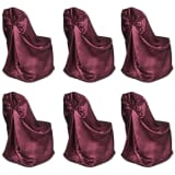 6 pcs Burgundy Chair Cover for Wedding Banquet