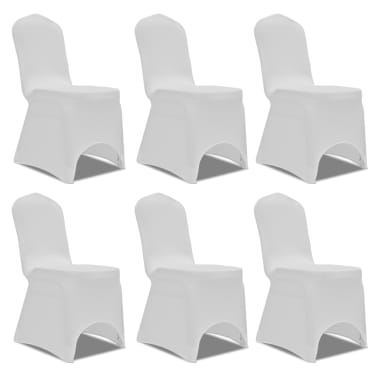 Chair Cover Stretch White 6 pcs[1/7]